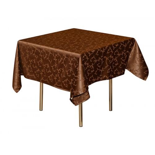 Скатерть 145х145 см «Журавинка» коричневая (вензель)
