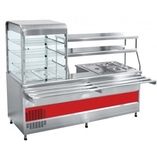 Прилавок-витрина холодильный мармитный универсальный ПВХМ-70КМУ нерж.